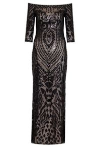 Quiz Black Bardot Sequin Maxi Dress