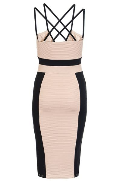 Quiz Black Strap V Neck Midi Dress