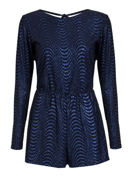 Quiz Royal Blue Glitter Wave Playsuit