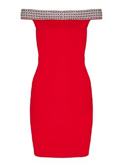 Red Jersey Bardot Embellished Bodycon Dress