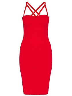 Red Cup Bodycon Strap Dress