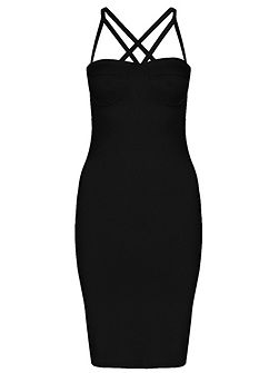 Black Cup Bodycon Strap Dress