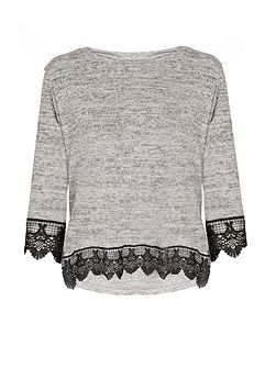 Grey And Black Knit Lace Trim Top