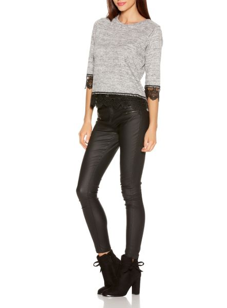 Quiz Grey And Black Knit Lace Trim Top