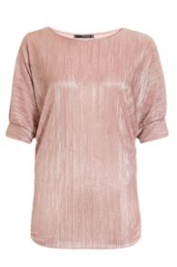 Quiz Nude Metallic Pleated Batwing Top