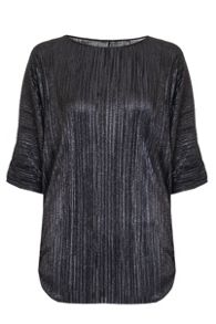 Quiz Black Metallic Pleated Batwing Top