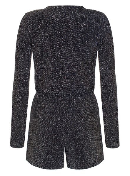 Quiz Black Glitter Texture Playsuit