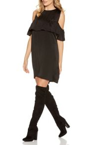 Quiz Black Satin Frill Tunic Dress