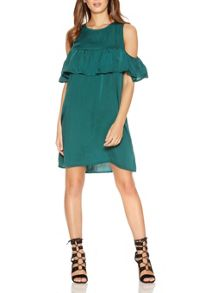 Quiz Green Satin Frill Tunic Dress