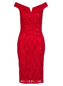 Quiz Red Lace Sequin Bardot Midi Dress