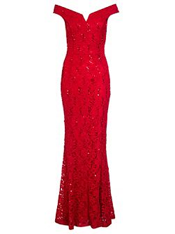 Red Lace Sequin Bardot Fishtail Maxi Dress