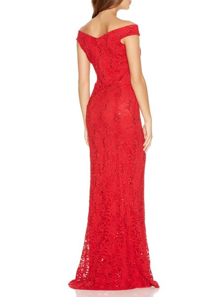 Quiz Red Lace Sequin Bardot Fishtail Maxi Dress