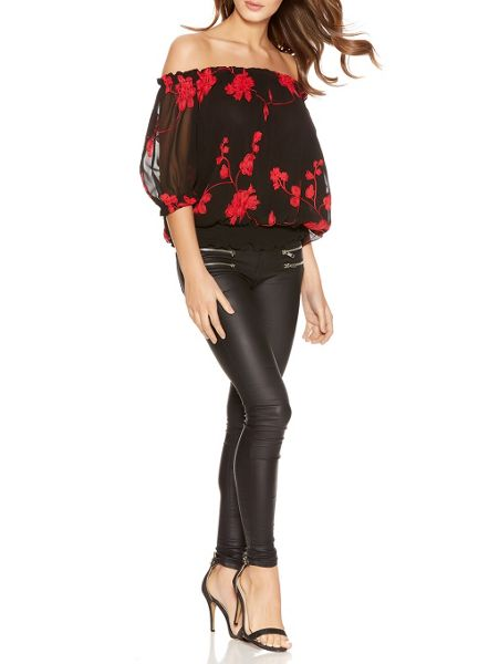 Quiz Black and Red Floral Bardot Top