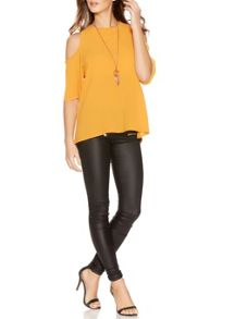 Quiz Mustard Cold Shoulder Necklace Top