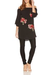Quiz Black Embroidery Bardot Tunic Dress