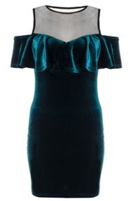 Quiz Green Velvet Mesh Frill Dress