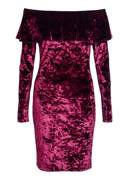 Quiz Berry Crushed Velvet Frill Bodycon Dress