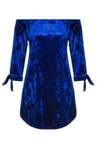Quiz Blue Velvet 3/4 Tie Sleeve Tunic
