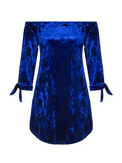 Blue Velvet 3/4 Tie Sleeve Tunic