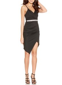 Quiz Black Diamante Waist Wrap Front Dress