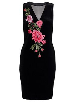 Black Embroidered Mesh V Neck Dress