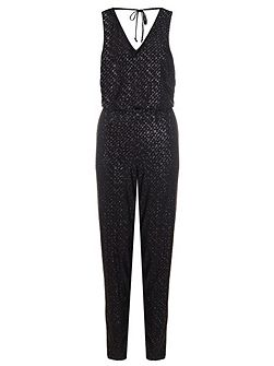 Black Glitter Diamond Jumpsuit