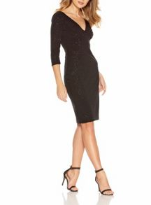 Quiz Black Glitter Diamond V Front Dress