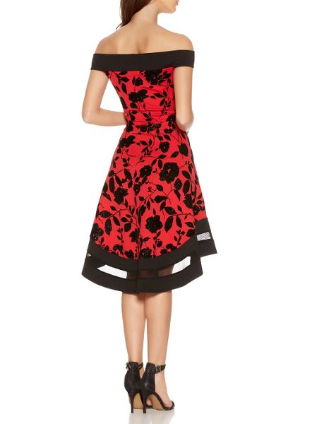 Quiz Red Glitter Flower Dip Hem Dress