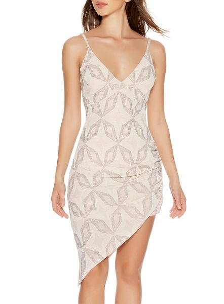 Quiz Nude Glitter Asymmetrical Dress