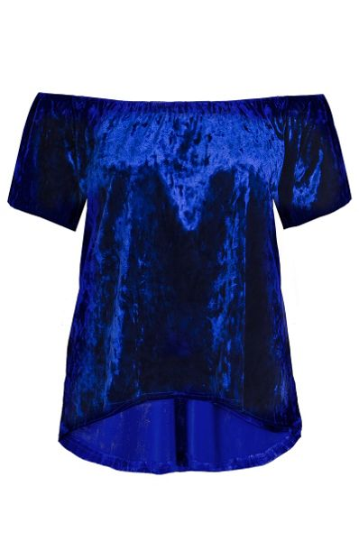 Quiz Blue Crushed Velvet Bardot Top