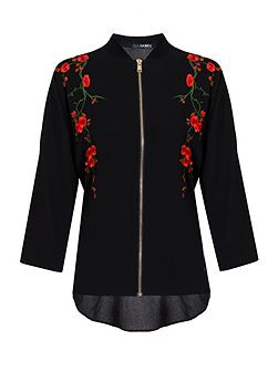 Black Floral Embroidered Zip Shirt