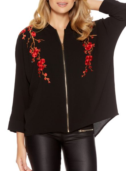 Quiz Black Floral Embroidered Zip Shirt