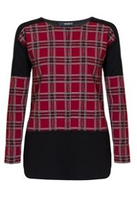 Quiz Berry Crepe Check Long Sleeve Top