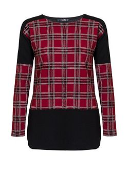 Berry Crepe Check Long Sleeve Top