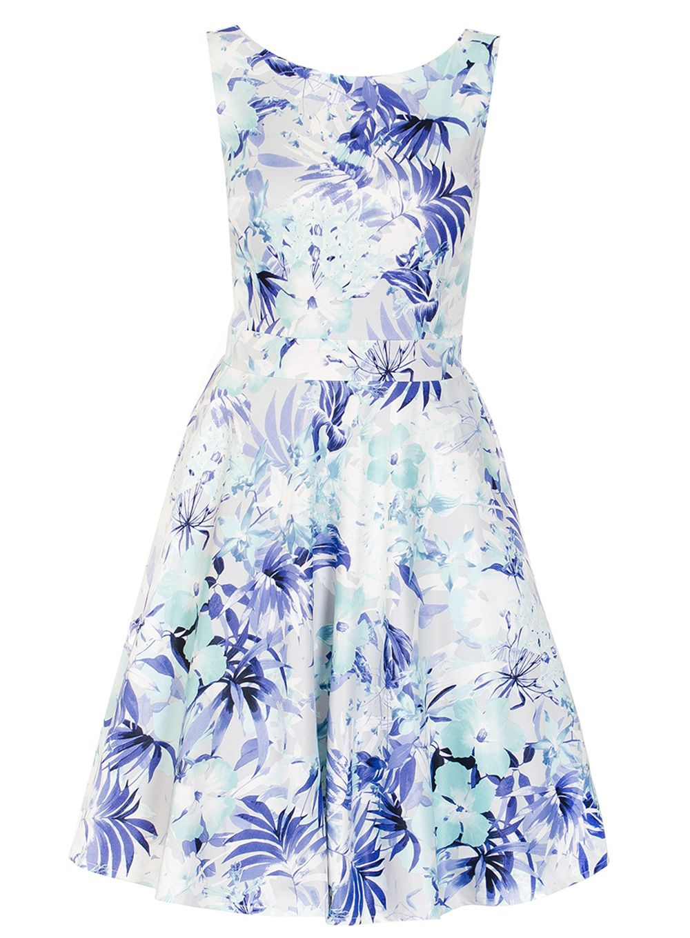 Quiz Blue And Grey Flower Print Dress, Blue