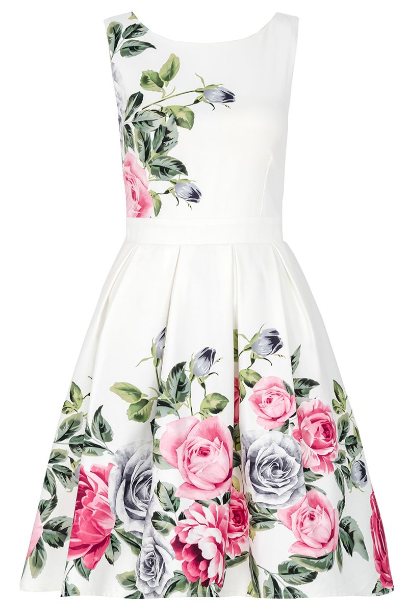 Quiz Cream Floral Print Prom Dress, Cream