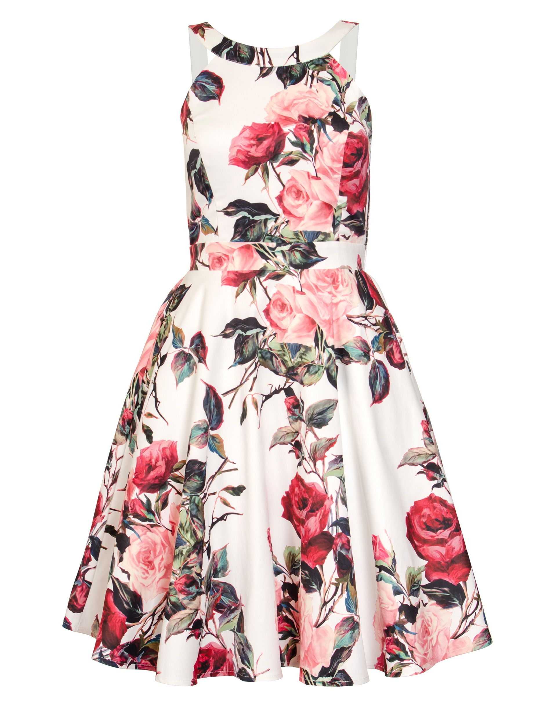 Quiz Cream Floral Print High Neck Dress, Cream