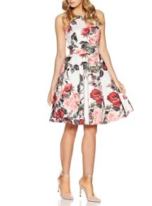 Quiz Cream Floral Print High Neck Dress