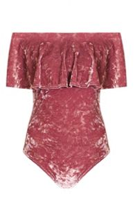 Quiz Pink Crushed Velvet Bardot Bodysuit