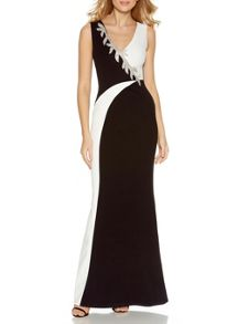 Quiz Black Contrast Diamante Trim Maxi Dress