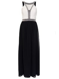 Cream And Black Pearl Maxi Dress