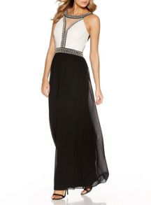 Quiz Cream And Black Pearl Maxi Dress