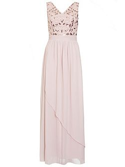 Pink Embellished V Neck Maxi Dress