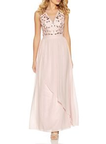 Quiz Pink Embellished V Neck Maxi Dress