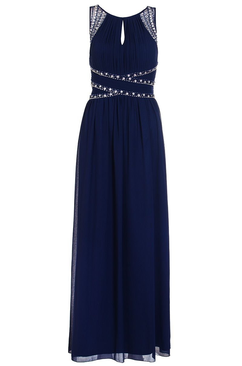 Quiz Navy Embellished Keyhole Maxi Dress, Blue