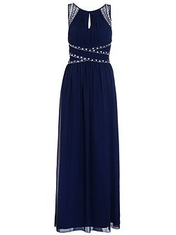 Navy Embellished Keyhole Maxi Dress