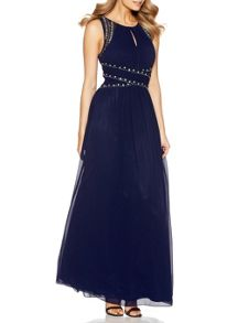 Quiz Navy Embellished Keyhole Maxi Dress
