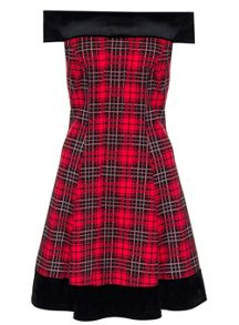 Quiz Red And Black Check Velvet Trim Flippy Dress