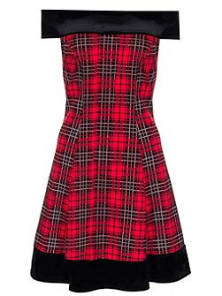 Red And Black Check Velvet Trim Flippy Dress