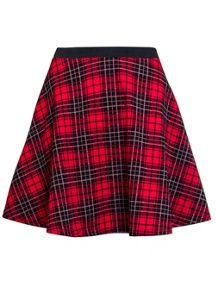 Quiz Red And Black Check Skirt